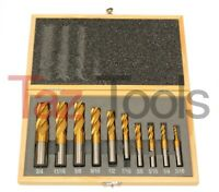 10 pc Tin M2 HSS Titanium Coated End Mill Set 4 Flutes Cutting tools Endmill