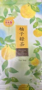 Japanese TA-FU Brand Green Tea with Yuzu Citron Ryokucha Tea Bags, Made in Japan