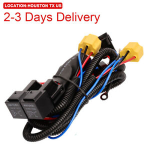 US Location H4 9003 HB2 Headlamp Light Bulb Socket Plug Relay Wiring Harness Kit