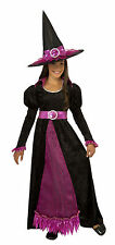 Girls Glimmer Witch Costume Black & Purple Witch Dress Hat Kids Size Large 12-14