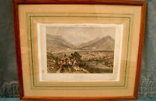 Lithographie Nice et Savoie. Saint Jean de Maurienne. Cadre vitré ancien 47x58cm