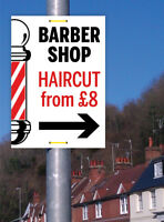 BARBERS SIGN BARBERS POLE BARBERS PAVEMENT SIGN PRINTED WITH YOUR MESSAGE