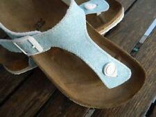 $125 Birkenstock Papillio Gizeh Espadrille Beach Blue Sandal Thong 38 US 7-7.5