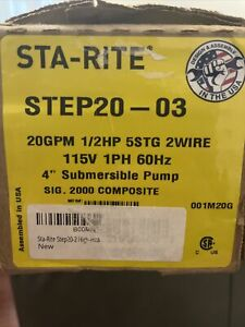 STA-Rite STEP20-3. 4 inch Submersible Well Pump 20GPM 1/2HP 115V 1PH 60Hz