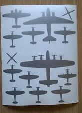 WW2 RAF Lancaster Blenheim & Spitfire Silhouette Shape Stickers A4 Sheet Silver