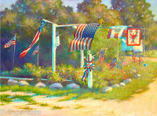 Provincetown JULY 4th AMERICAN FLAGS 18x24 Oil Painting on Giclee Canvas