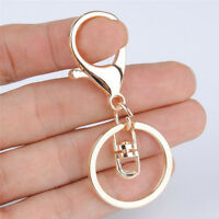10/5pc Gold Lobster Clasp Key Snap Hook Split Ring Jewelry Finding Keychain