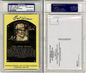 Earl Weaver SIGNED Baseball Hall of Fame Plaque HOF Orioles PSA/DNA AUTOGRAPHED