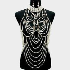 Pearl Body Chain Necklace Layered Chains Bib Choker Collar GOLD CREAM Tassel