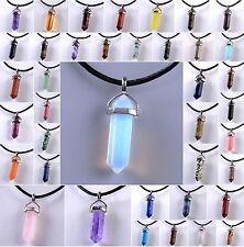 Natural Crystal Necklace Gemstone Rock Quartz Healing Point Chakra Stone Pendant