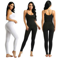 Womens Spaghetti Leotard Bodysuit Stretchy Tank Unitard Yoga Gym Dance Jumpsuit