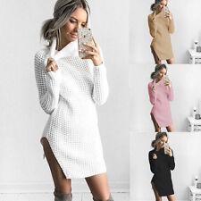 M/L violet white Women Sweater Turtleneck Split Slim Sweater Pullover Outwear