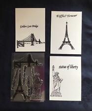 Tour Eiffel/Statue de la liberté/Golden Gate Bridge/Clair/non montés/TIMBRE/Set