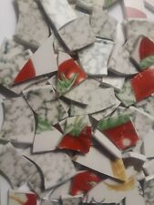 Mosaic Tiles Broken Glass Green White with Reds and Tan