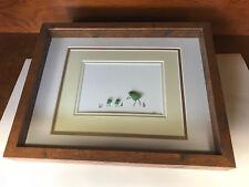 Beach Sea Glass Art Decor Flowers & Flower Pot, Butterfly, Wood Shadow Box Frame