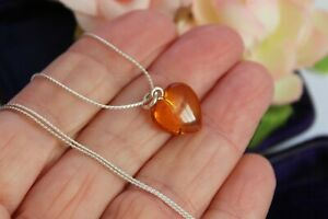 ⭐SALE⭐STERLING SILVER AND HEART SHAPED BALITC AMBER PENDANT - AMBER JEWELLERY