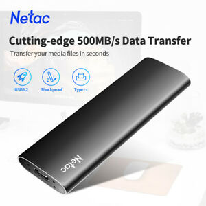 Netac 1TB Protable SSD USB3.2 500MB/S External Solid State Drive for MAC/Laptop