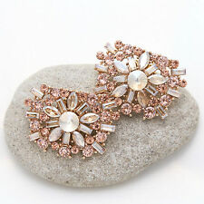 Rose Gold Crystal Wedding Bridal Gold Tone Diamante Shoe Clips Accessories