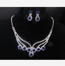 Wedding Bridal Jewelry Set Blue Crystal Diamante Rhinestone Necklace & Earrings