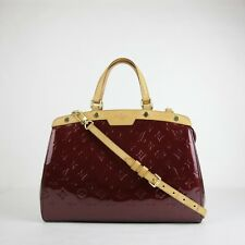 $2730 Louis Vuitton Red Shimery Rouge Patent Leather Brea MM Satchel Bag AA4162