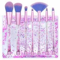 7pcs Pro Makeup Brushes Unicorn Crystal Quicksand Sequins Brush & Free Pouch Bag