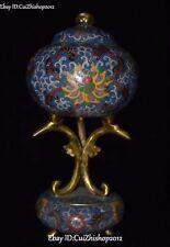 Old Signed China Cloisonne Enamel Gilt Flower Incense Burner Censer Statue