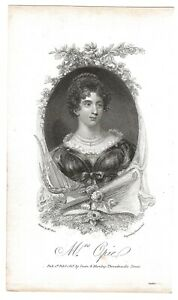 Original 1817 Engraving Mrs. Opie with Her Story