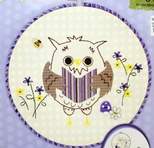 Beginner Stamped Embroidery Applique Forest Owl Kit Hoop Included New