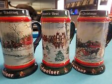 1990 1991 1992  Anheuser Busch  AB  Budweiser Bud Holiday Christmas Beer Stein