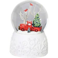 Roman Red Ford F1 Truck Musical Snow Globe Plays Sleigh Ride New