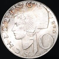 1970 | Austria 10 Schilling | Silver | Coins | KM Coins