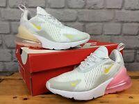 NIKE AIR MAX 270 LADIES WHITE PINK YELLOW TRAINERS VARIOUS SIZES RRP £130  LG