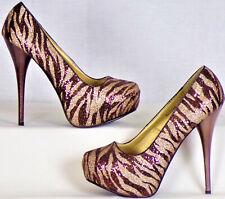 CHARLOTTE RUSSE size 7 gold/copper glitter hidden-platform pumps animal stripes