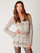 Free People Chevron Ivory Beige Boho Wool Sweater Mini Dress Sz S $168 Rare
