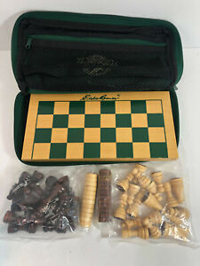 Eddie Bauer Traveling Wooden Chess Checkers Set, Board & Canvas Zipper Pouch