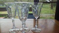 Libbey Rock Sharp Water Glasses Goblets Halifax 3005 etched bowl stem 4 8 oz