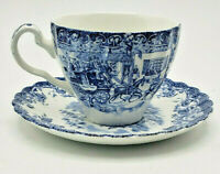Blue Coaching Scenes Tea Cup & Saucer Johnson Bros Hunting Country Ironstone
