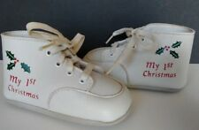 "Wee Kids ""My 1st Christmas"" White Baby Infant Shoes With Mistletoe Size 2"