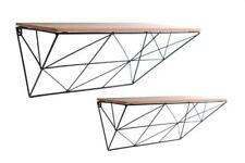 Set 2 Modern Black Geometric Metal Wire Retro Wood Effect Shelf Shelves