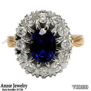 14k Rose & White Gold 2.8 ct Sapphire .80 ct G-SI1 Diamond Russian Style Ring