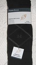 Perry  Ellis 4 Pair Black Rayon Blend Dress Socks 1 Diamond 3 Solid 6.5-12 $24