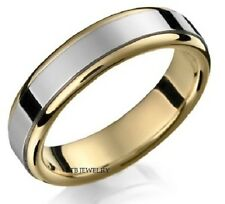 10K TWO TONE GOLD MENS WEDDING BANDS,SHINY FINISH 6MM WOMENS WEDDING RINGS
