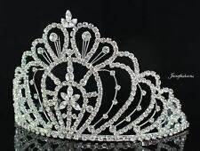 WEDDING RHINESTONE CRYSTAL CROWN TIARA W/ COMBS PAGEANT PROM BRIDAL 00469 SILVER