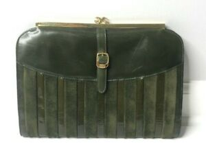 Gucci Vintage Green Suede Patent Leather Striped Kisslock GG Clutch