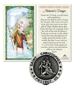 St Saint Christopher Protect Us Car Medal Visor Clip & Prayer Card Travel Safety