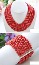 Real Narutal 8row 6MM Red Round Coral Bead Necklace & Bracelet 17-24""