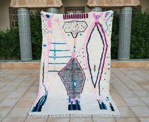"Azilal rug 8'x4'11""Ft Berber Moroccan Beni Ourain Carpet handmade, Tapis azilal"