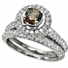 14kt White Gold Cognac-brown Diamond Bridal Wedding Set