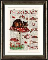 ANTIQUE BOOK PAGE ART PRINT Alice in Wonderland  Cheshire Cat Crazy ORANGE
