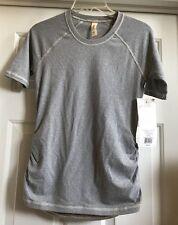 NWT Lucy Activewear Dashing Stripes Short Sleeve Shirt Women's XS Gray Striped